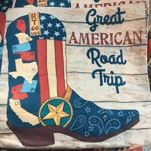 Other - Pillow Cover- New- Western Cowboy Boot Route 66